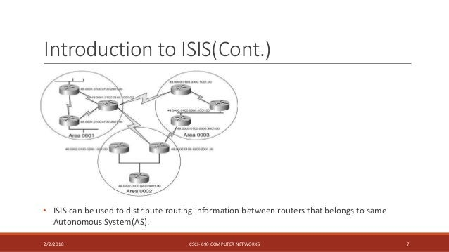 Introduction to ISIS(Cont.) 2/2/2018 CSCI- 690 COMPUTER NETWORKS 7 • ISIS can be used to distribute routing information be...