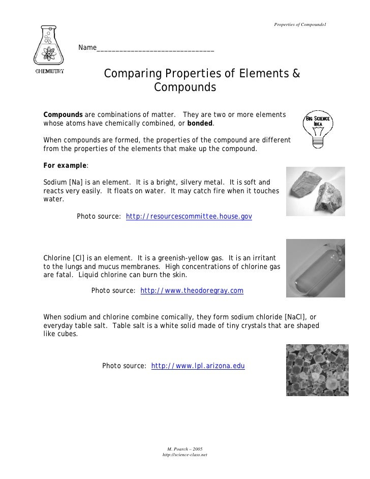 Properties of Compounds1               Name_______________________________                      Comparing Properties of El...