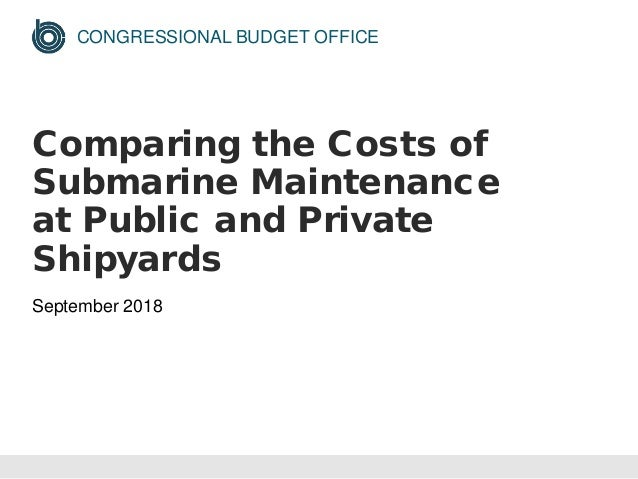 CONGRESSIONAL BUDGET OFFICE Comparing the Costs of Submarine Maintenance at Public and Private Shipyards September 2018