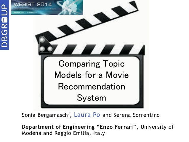 "Sonia Bergamaschi, Laura Po and Serena Sorrentino Department of Engineering ""Enzo Ferrari"", University of Modena and Reggi..."