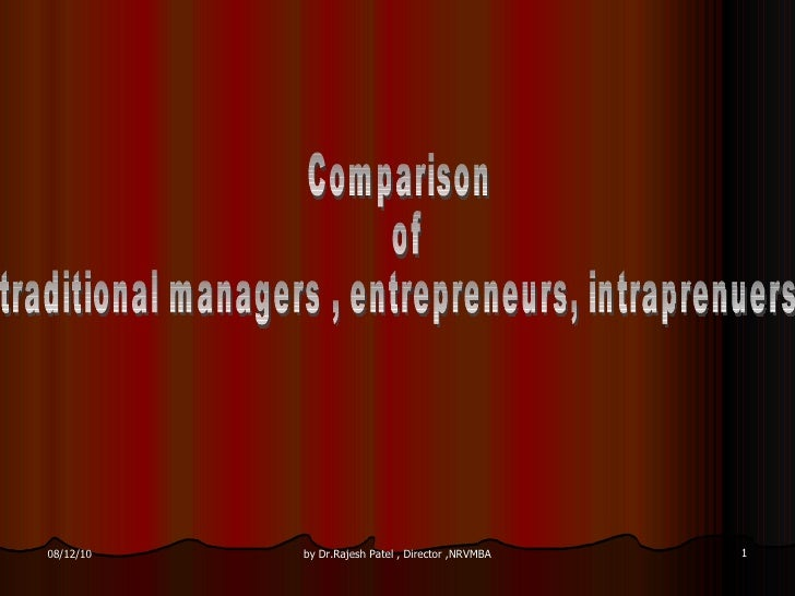 Comparison of  traditional managers , entrepreneurs, intraprenuers