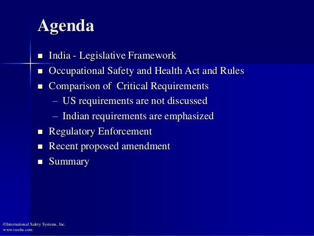 Comparison of US and India Health and Safety Regulations Slide 2