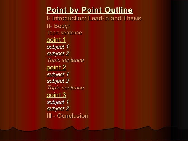 comparison contrast essay point by point outlinepoint by point outline
