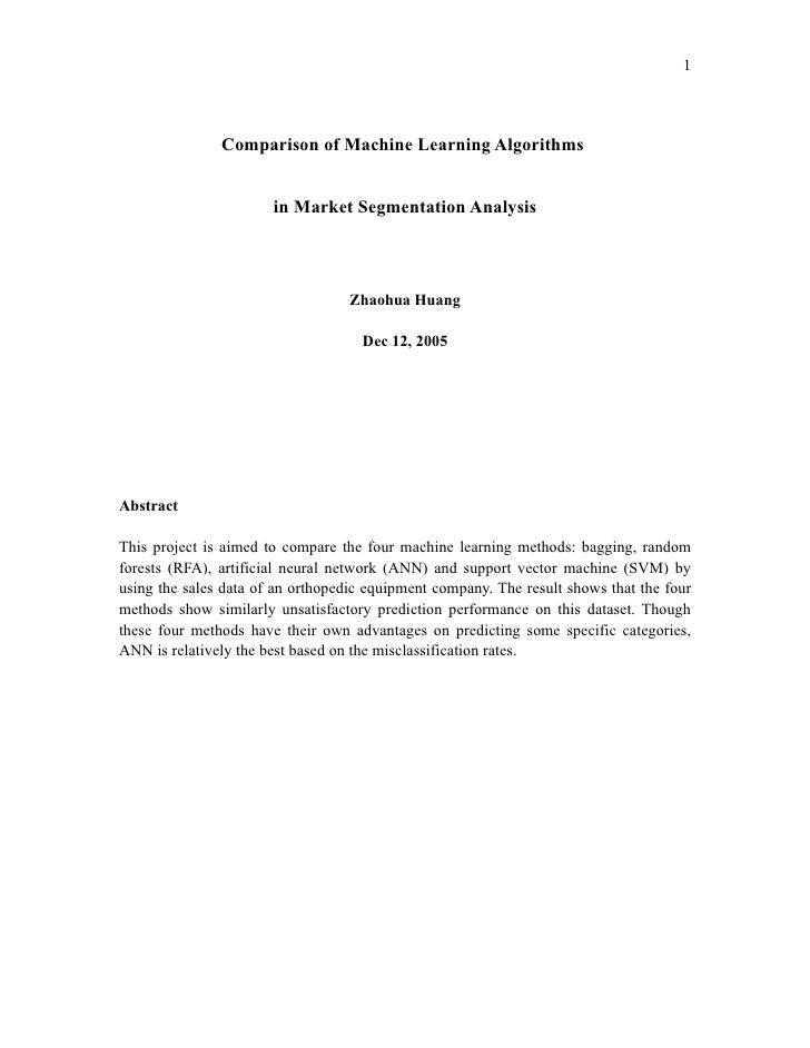 1                    Comparison of Machine Learning Algorithms                          in Market Segmentation Analysis   ...