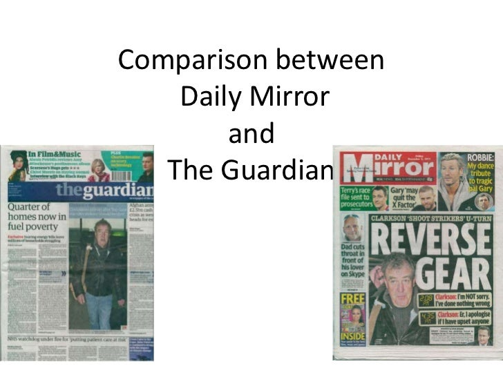 a comparison on broadsheet newspapers and tabloid newspapers