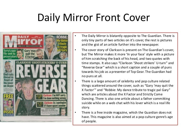 a comparison of two quality newspapers the times and the daily mirror History of british newspapers to the time of william and southnews is sold to trinity mirror for £285m daily express and daily star are sold by lord.