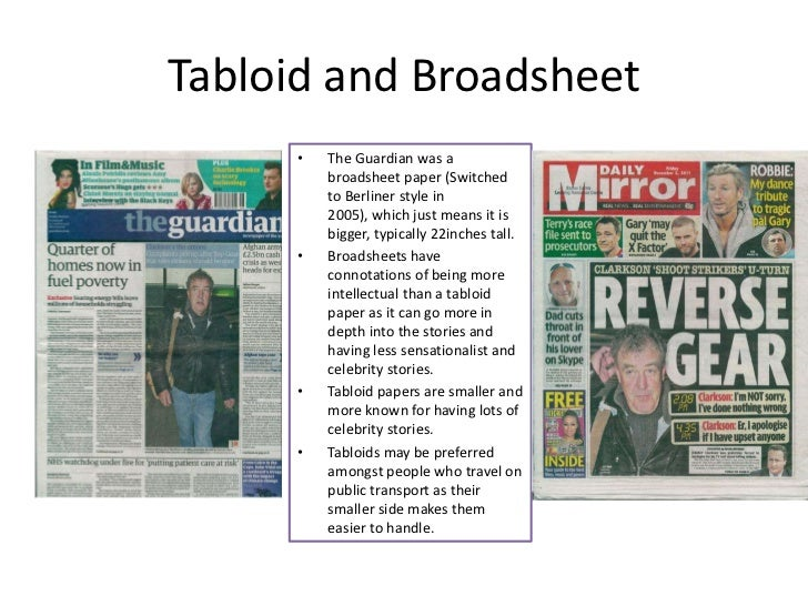 broadsheet and tabloid article comparison essay Comparing broadsheet and tabloid newspapers  there are more pictures in each article in a tabloid than in a broadsheet  comparison between tabloid and .