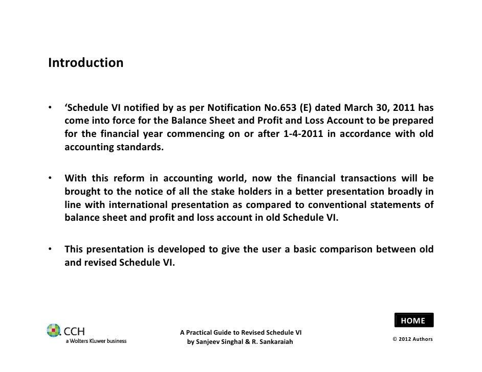 new balance sheet schedule vi