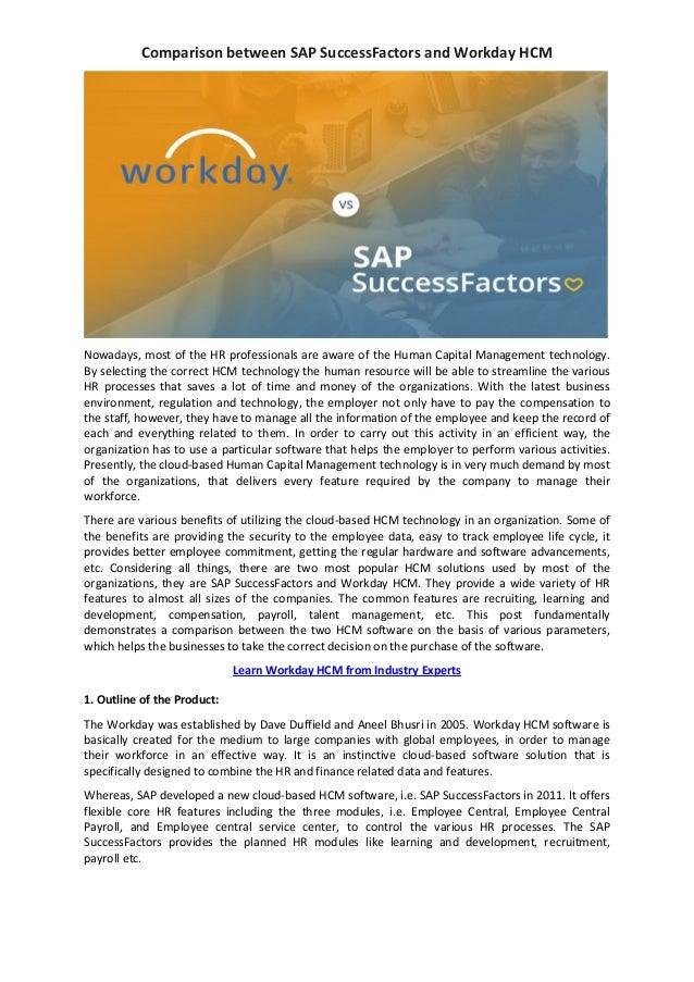 Comparison Between Sap Successfactors And Workday Hcm