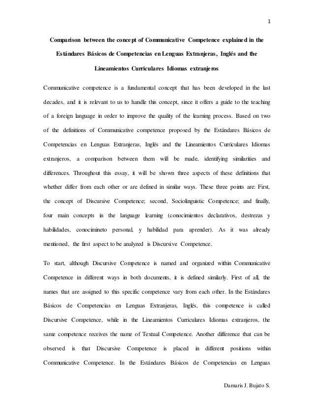 1 Damaris J. Bujato S. Comparison between the concept of Communicative Competence explained in the Estándares Básicos de C...