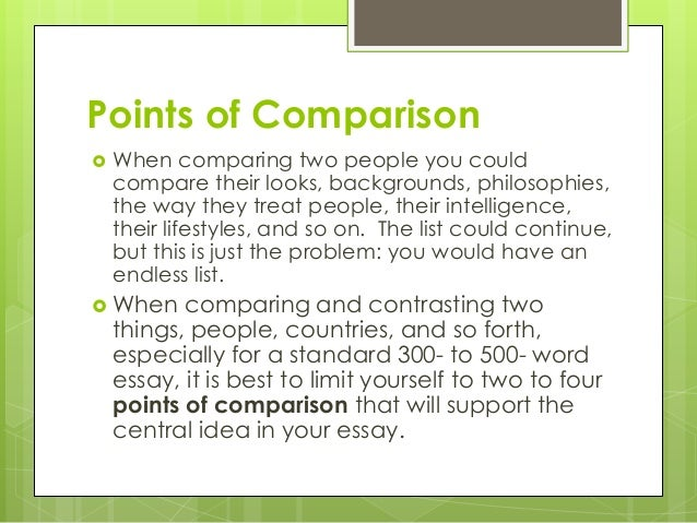 comparison contrast essay 7 points of comparison when comparing two people