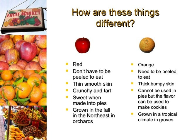 compare and contrast apples and oranges essay