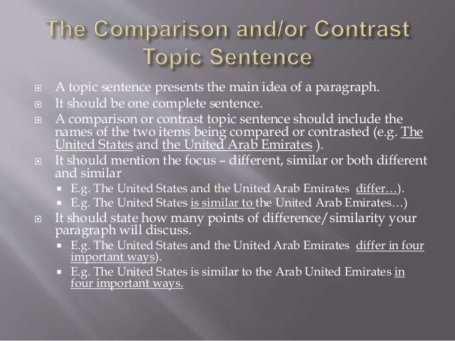 comparison paragraph topic sentence