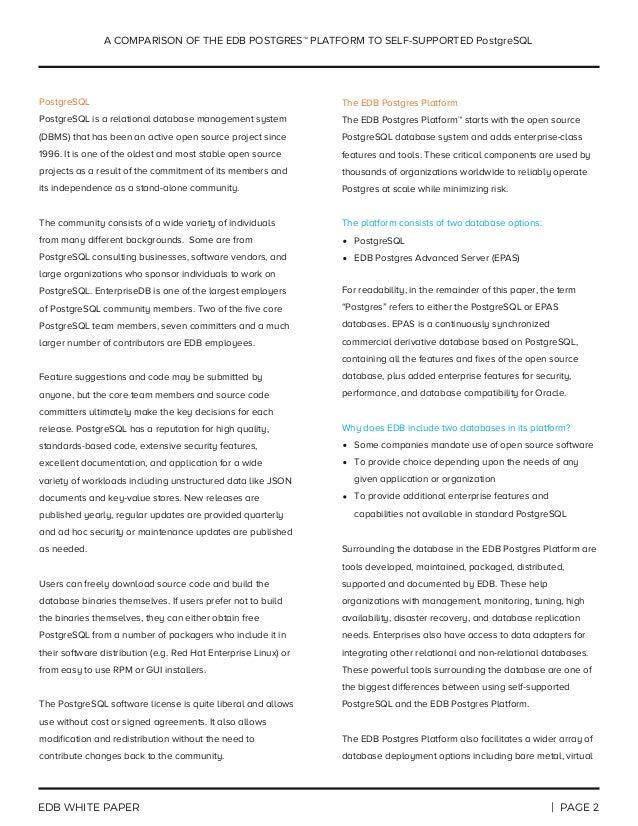 A Comparison of EDB Postgres to Self-Supported PostgreSQL