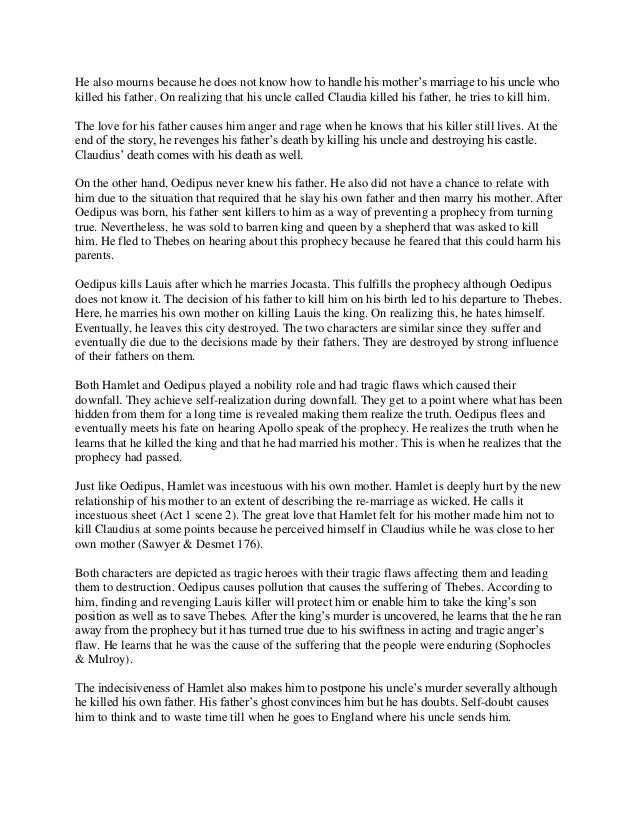 Oedipus and hamlet comparison essay