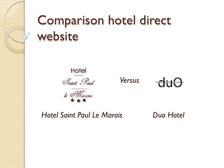 Comparison hotel direct website                            Versus    Hotel Saint Paul Le Marais        Duo Hotel