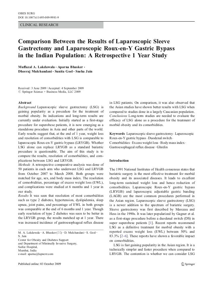 OBES SURGDOI 10.1007/s11695-009-9981-9 CLINICAL RESEARCHComparison Between the Results of Laparoscopic SleeveGastrectomy a...