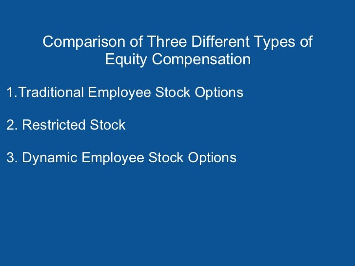Comparison of Three Different Types of            Equity Compensation1.Traditional Employee Stock Options2. Restricted Sto...