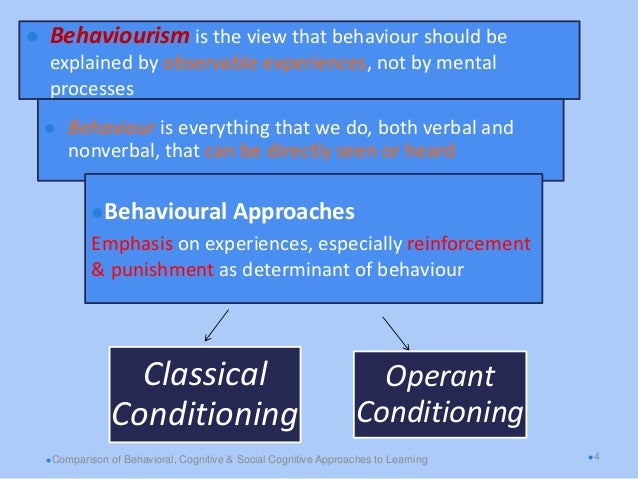 behavioural and cognitive approaches to learning comparison 5 major perspectives in psychology psychology is the scientific study of how we think, feel and behave cognitive approach in contrast to behaviorists.
