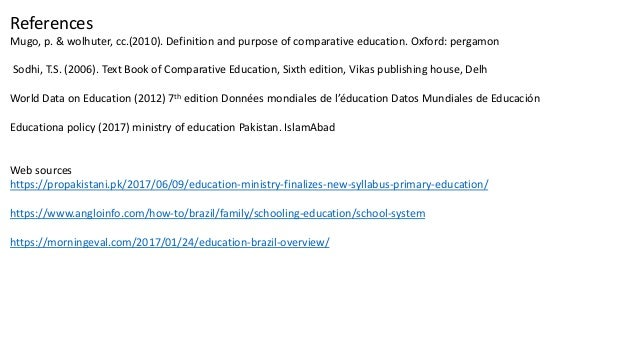Comparison of curriculum of brazil and pakistan at