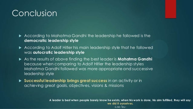 conclusion of leadership style Essays on leadership styles we have found leadership styles leadership may take different forms depending on the personality and strategies used by managers.