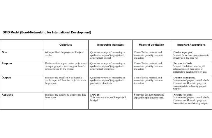 goal assumptions means of verification performance indicators project description 6