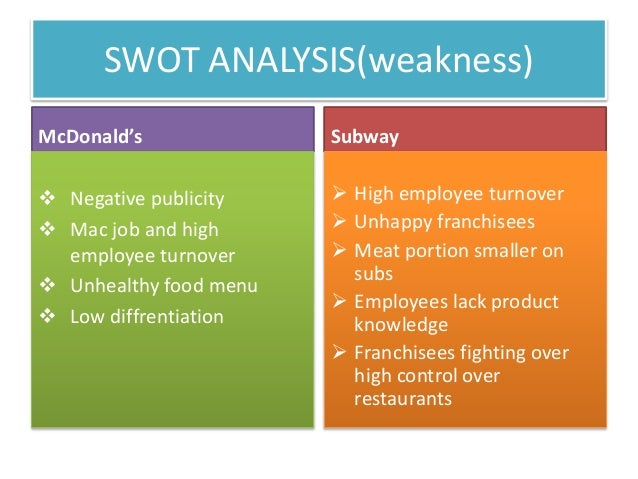 mcdonalds swot 01112013  mcdonald swot analysis a strengths mcdonalds has strong global presence and is considered as a market leader in both the domestic as well as the.