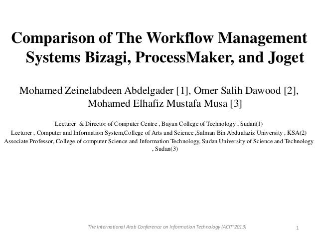 Comparison of The Workflow Management Systems Bizagi, ProcessMaker, and Joget Mohamed Zeinelabdeen Abdelgader [1], Omer Sa...