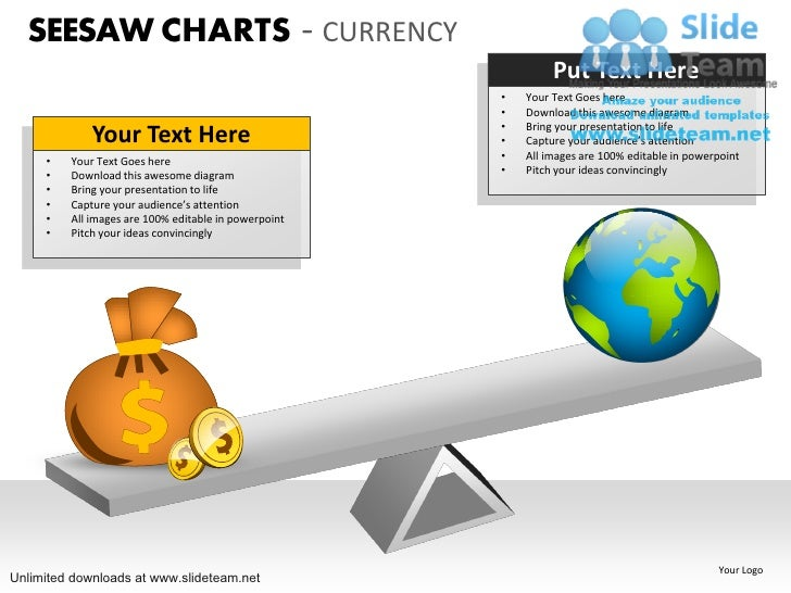 comparison seesaw charts currency power point slides and