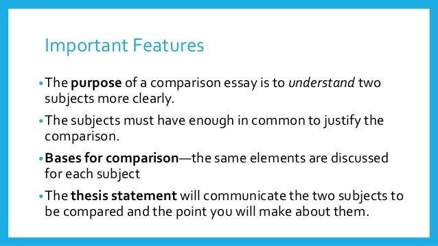 comparison writing - Comparison Essay Thesis Example