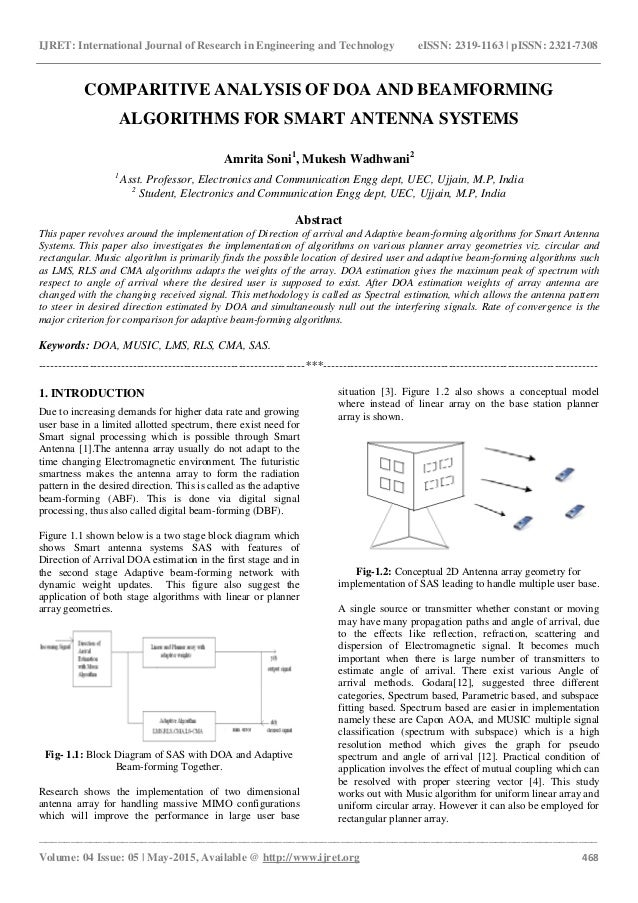 Comparitive analysis of doa and beamforming algorithms for