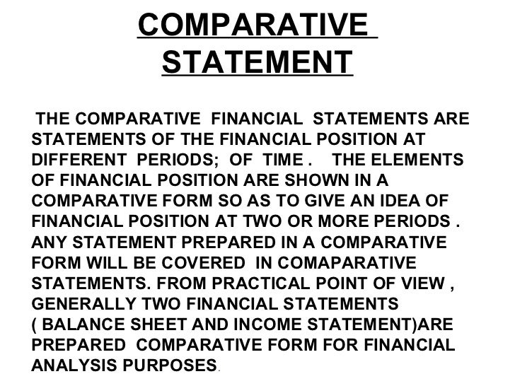 common size and comparative statements Common size analysis of financial statements involves looking at the numbers on the financial statement as a percentage of a total rather than their absolute value typically investors will look at a company's common size balance sheet and common size income statement.