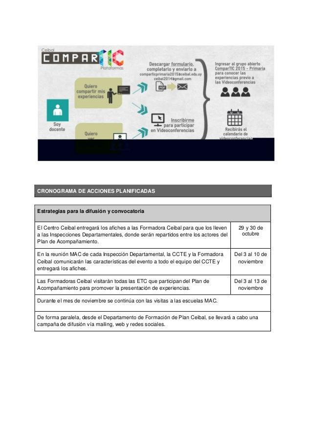 CRONOGRAMA DE ACCIONES PLANIFICADAS Estrategias para la difusión y convocatoria El Centro Ceibal entregará los afiches a l...