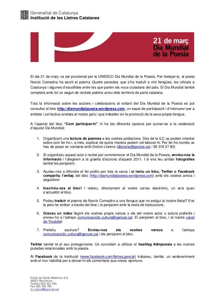 Generalitat de CatalunyaInstitució de les Lletres CatalanesEl dia 21 de març va ser proclamat per la UNESCO Dia Mundial de...