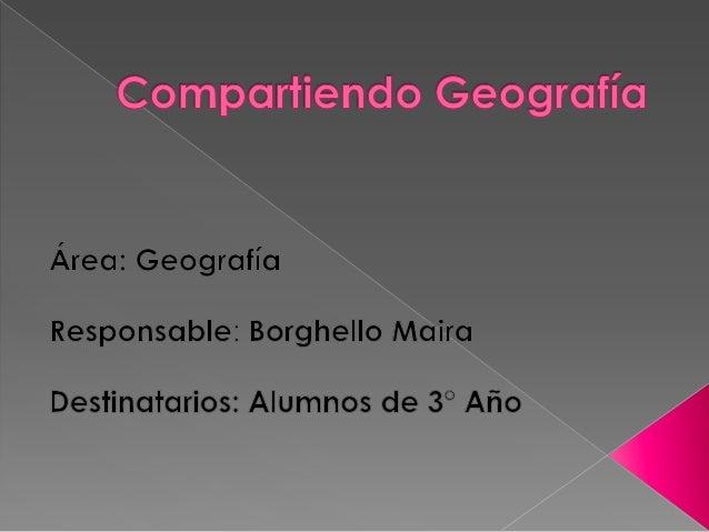  En este proyecto se trata de comunicar y compartir a los alumnos problemáticas actuales de la Geografía. Se creará un gr...