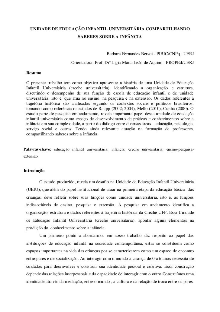 UNIDADE DE EDUCAÇÃO INFANTIL UNIVERSITÁRIA COMPARTILHANDO                                SABERES SOBRE A INFÂNCIA         ...