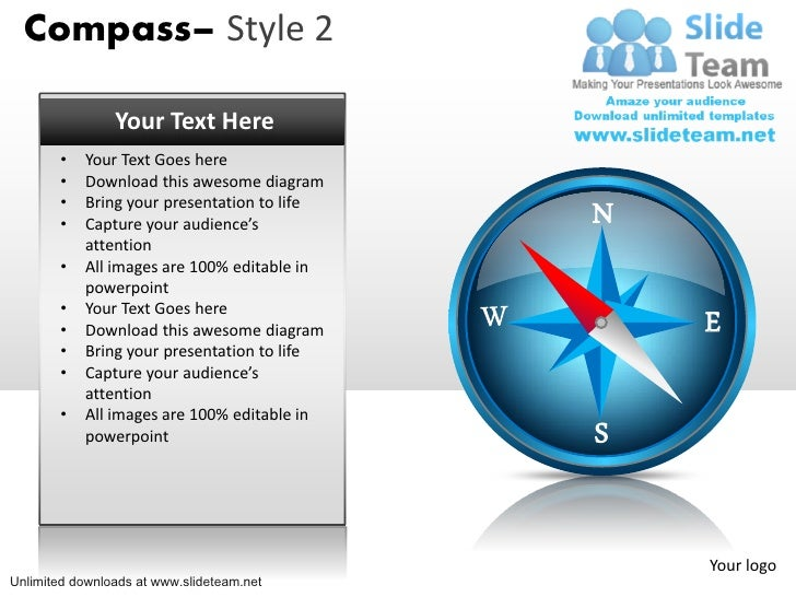 Compass business direction icon 2 power point slides and ppt diagram compass style 2 your text here your text goes here ccuart Choice Image