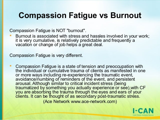 compassion fatigue and burnout Compassion for others, self-compassion, quality of life and mental well-being measures and their association with compassion fatigue and burnout in student midwives.