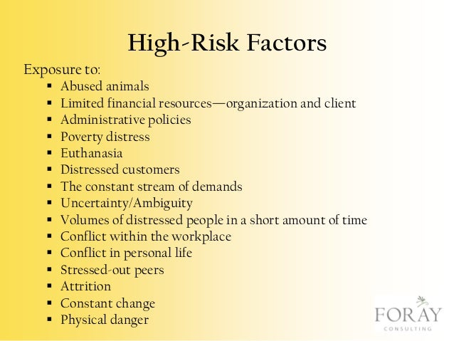 High-Risk Factors Exposure to:                 Abused animals Limited financial resources—organization and ...
