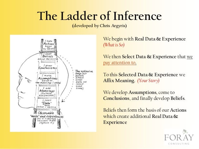 The Ladder of Inference (developed by Chris Argyris)  We begin with Real Data & Experience (What is So) We then Select Dat...