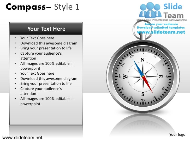 Compass– Style 1            Your Text Here     •   Your Text Goes here     •   Download this awesome diagram     •   Bring...
