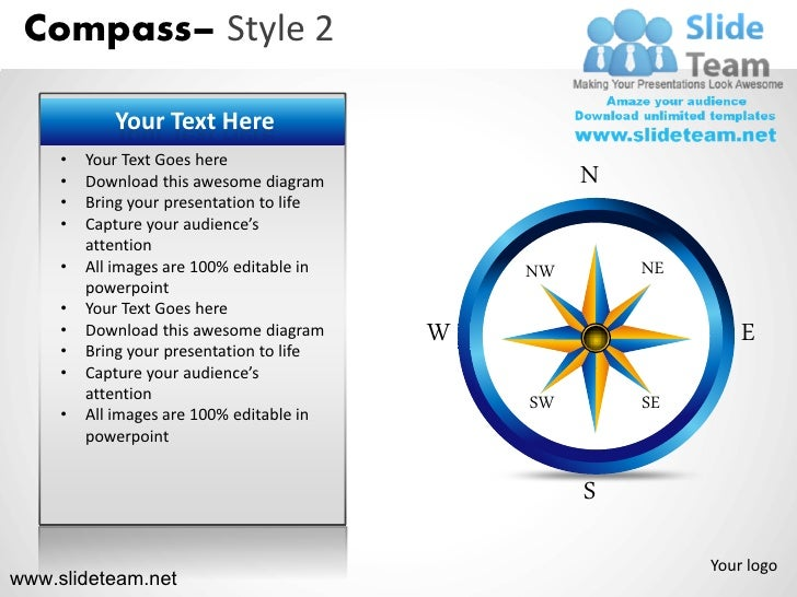 Compass Style Design 2 Powerpoint Ppt Slides