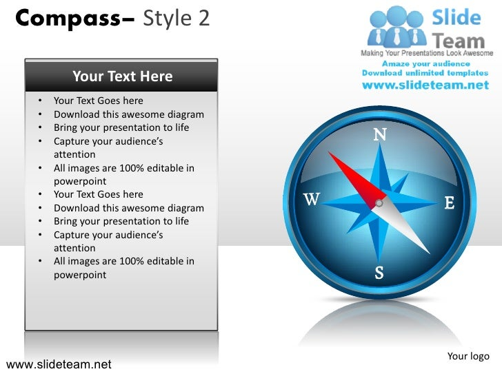 Compass– Style 2            Your Text Here     •   Your Text Goes here     •   Download this awesome diagram     •     •  ...