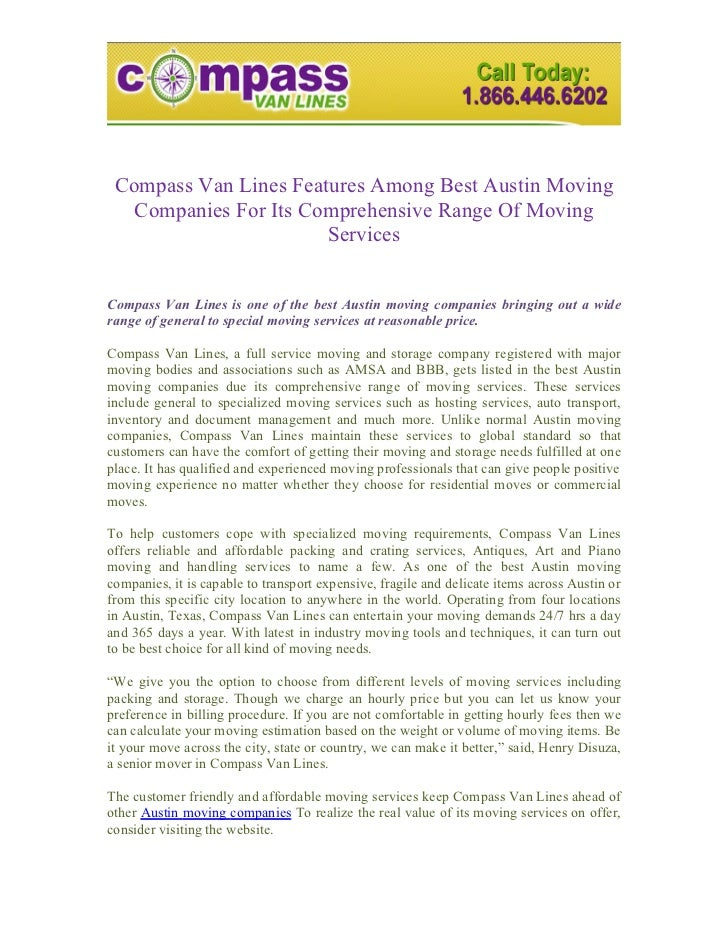 Compass Van Lines Features Among Best Austin Moving   Companies For Its Comprehensive Range Of Moving                     ...