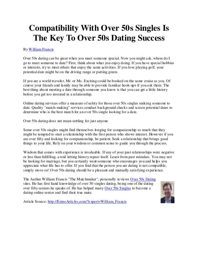 Dating over 50 articles
