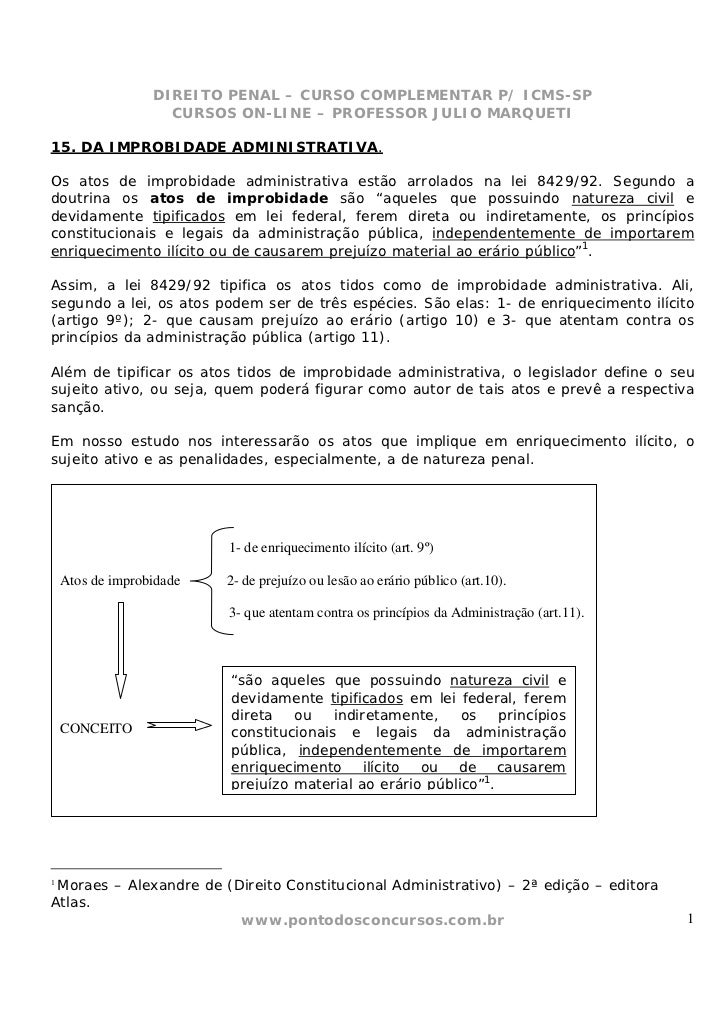 DIREITO PENAL – CURSO COMPLEMENTAR P/ ICMS-SP                    CURSOS ON-LINE – PROFESSOR JULIO MARQUETI15. DA IMPROBIDA...
