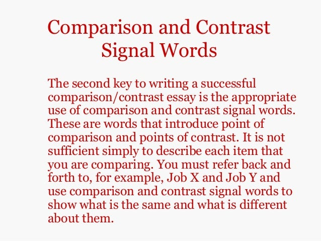 compare and contrast paragraph examples