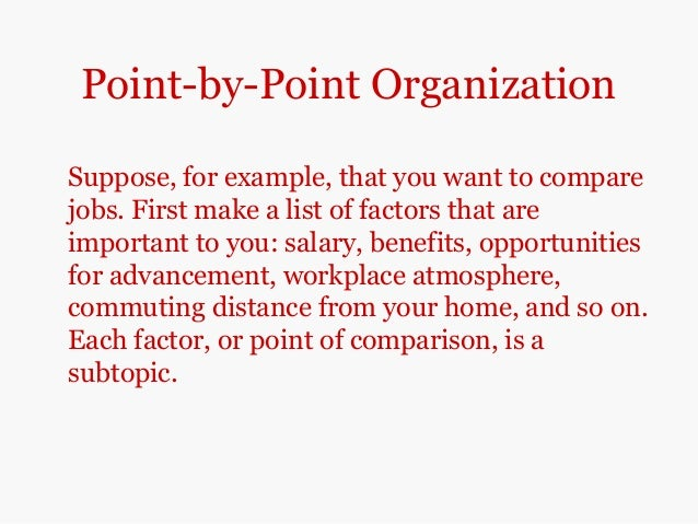 point to point comparison essay A point-by-point method is an organizational pattern of comparison and contrast essay the point-by-point method refers to the comparison of one point of a subject or.