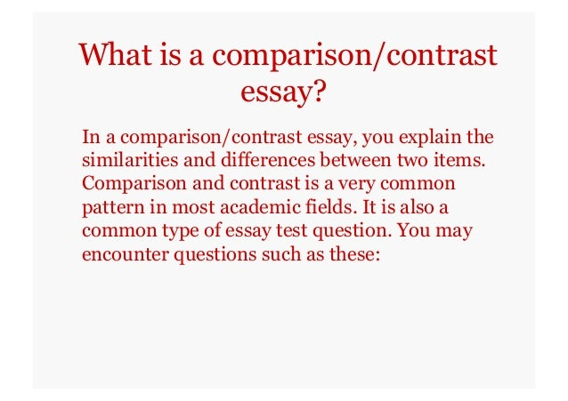 what is a comparison and contrast essay