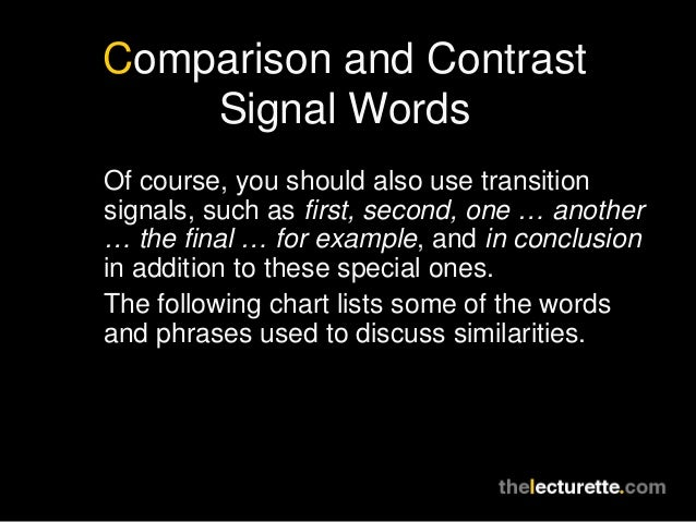 transition words for comparison and contrast essays